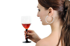 Young woman  with wineglass Stock Photos