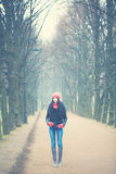 Young Woman at Winter. Background Royalty Free Stock Photo