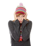 Young woman with winter cap Stock Photos