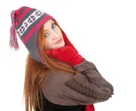 Young woman in winter cap and red mittens Royalty Free Stock Photo