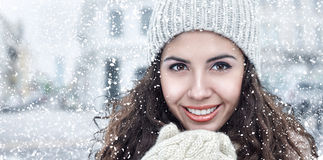 Young woman in winter city Royalty Free Stock Photo