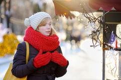 Young woman at winter city Royalty Free Stock Photos