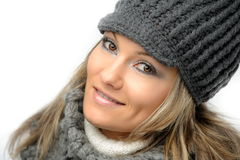 Young woman with winter clothes Royalty Free Stock Images