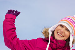 Young woman in winter clothes Stock Images
