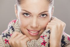 Young woman with winter clothes Royalty Free Stock Photos