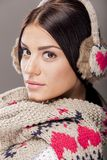 Young woman with winter clothes Royalty Free Stock Photography