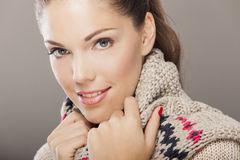 Young woman in winter clothes Stock Photos