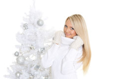 Young  woman in winter clothes. Christmas. Stock Photos