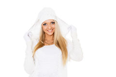 Young  woman in winter clothes. Stock Photos