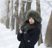 Young woman in winter clothes in the park Royalty Free Stock Photos