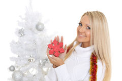 Young  woman in winter clothes with snowflake. Royalty Free Stock Images