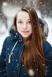 Young woman in winter clothes standing under the snow Royalty Free Stock Photography
