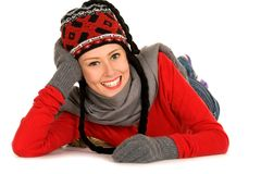 Young woman in winter clothing Stock Images