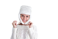 Young woman in winter clothing Stock Photo