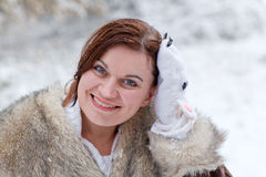 Young woman  on winter day Stock Images