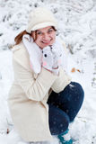 Young woman  on winter day Royalty Free Stock Images
