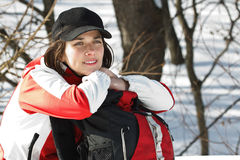 Young woman in winter forest Royalty Free Stock Images