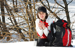 Young woman in winter forest Royalty Free Stock Photo