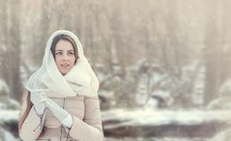 Young woman in winter forest. Panoramic image. Beautiful young woman in winter forest. Panoramic image Royalty Free Stock Photos