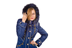 Young woman in winter fur coat Royalty Free Stock Photo
