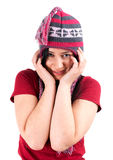 Young woman in winter hat Stock Photography