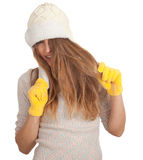 Young woman in winter hat Stock Photos