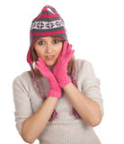 Young woman in winter hat Royalty Free Stock Image