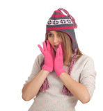 Young woman in winter hat Stock Photo