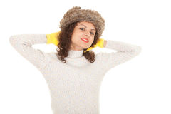 Young woman in winter hat Stock Images