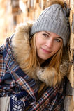 Young woman in winter jacket cover blanket Royalty Free Stock Photography