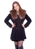Young woman in winter jacket with fur Royalty Free Stock Images