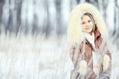 Young woman in winter jacket Royalty Free Stock Photo