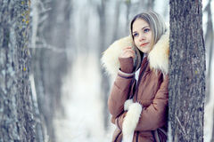 Young woman in winter jacket Royalty Free Stock Photos
