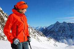 Young woman in winter mountains. Portrait of young woman in winter mountains Royalty Free Stock Photography