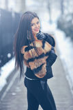 Young woman in winter - outdoor portrait Stock Photo