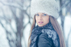 Young woman in winter - outdoor portrait Stock Images