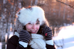 Young woman in the winter outwear Stock Photos