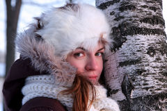 Young woman in the winter outwear Stock Photography