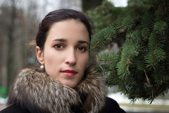 Young woman in winter park. Portrait of young woman in winter park Stock Photography