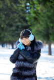 Young woman in winter park Stock Photo