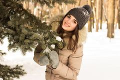 Young woman in winter park Stock Photos