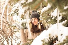 Young woman in winter park. Happy young woman in winter park enjoy her life Stock Photos