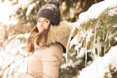 Young woman in winter park. Happy young woman in winter park enjoy her life Stock Images