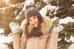 Young woman in winter park. Happy young woman in winter park enjoy her life Stock Photography