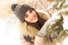 Young woman in winter park. Happy young woman in winter park enjoy her life Royalty Free Stock Photography