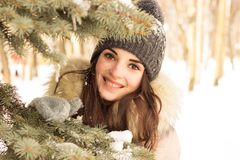 Young woman in winter park Stock Photography