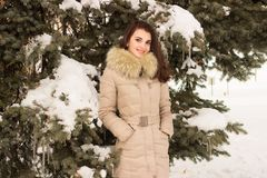Young woman in winter park. Portrait of woman in winter park near the winter tree Stock Photography