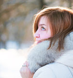 Young woman winter portrait. Shallow dof Royalty Free Stock Photos