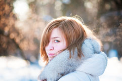 Young woman winter portrait. Shallow dof Royalty Free Stock Image