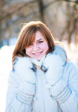 Young woman winter portrait. Shallow dof Stock Photos